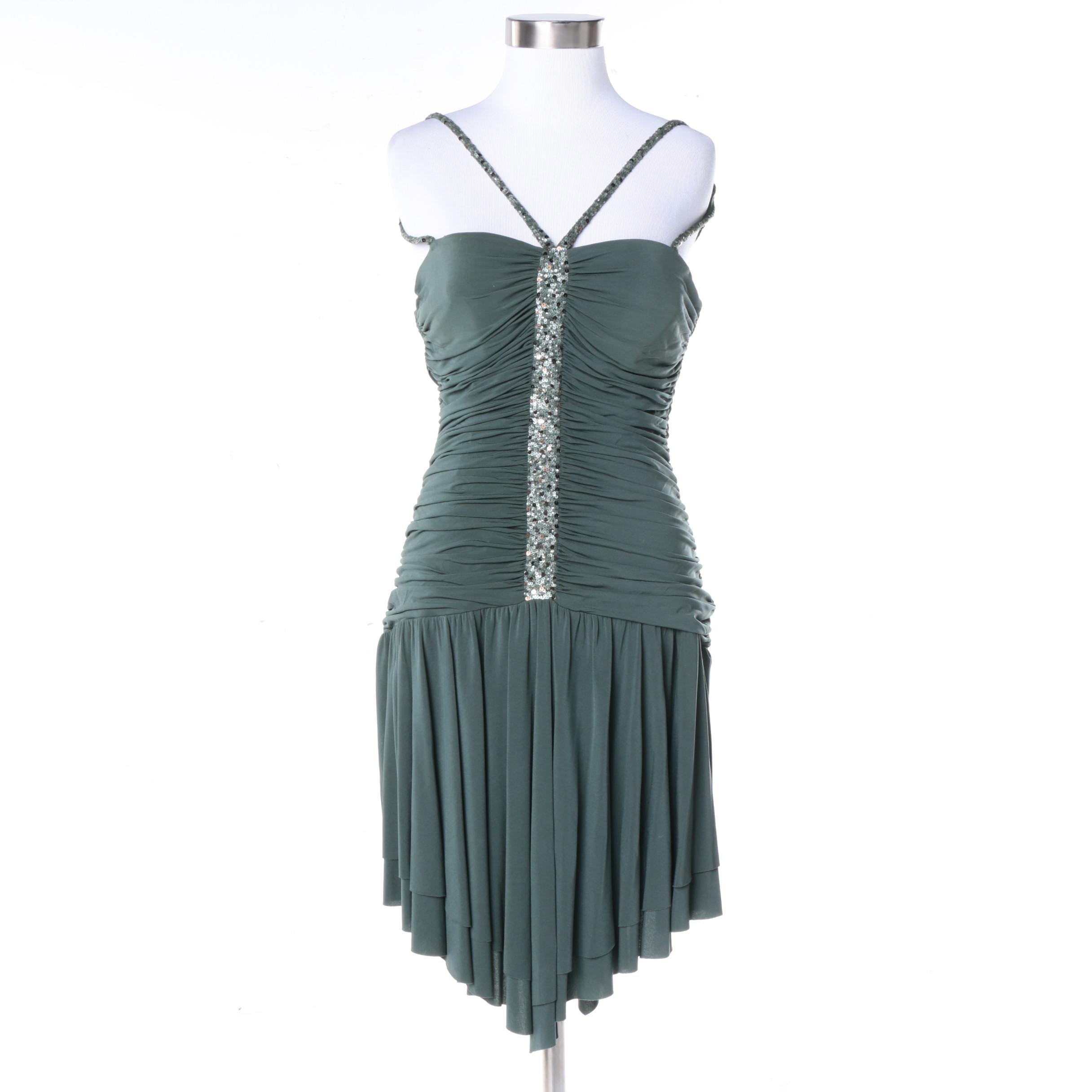 BCBG Max Azria Green Sleeveless Cocktail Dress