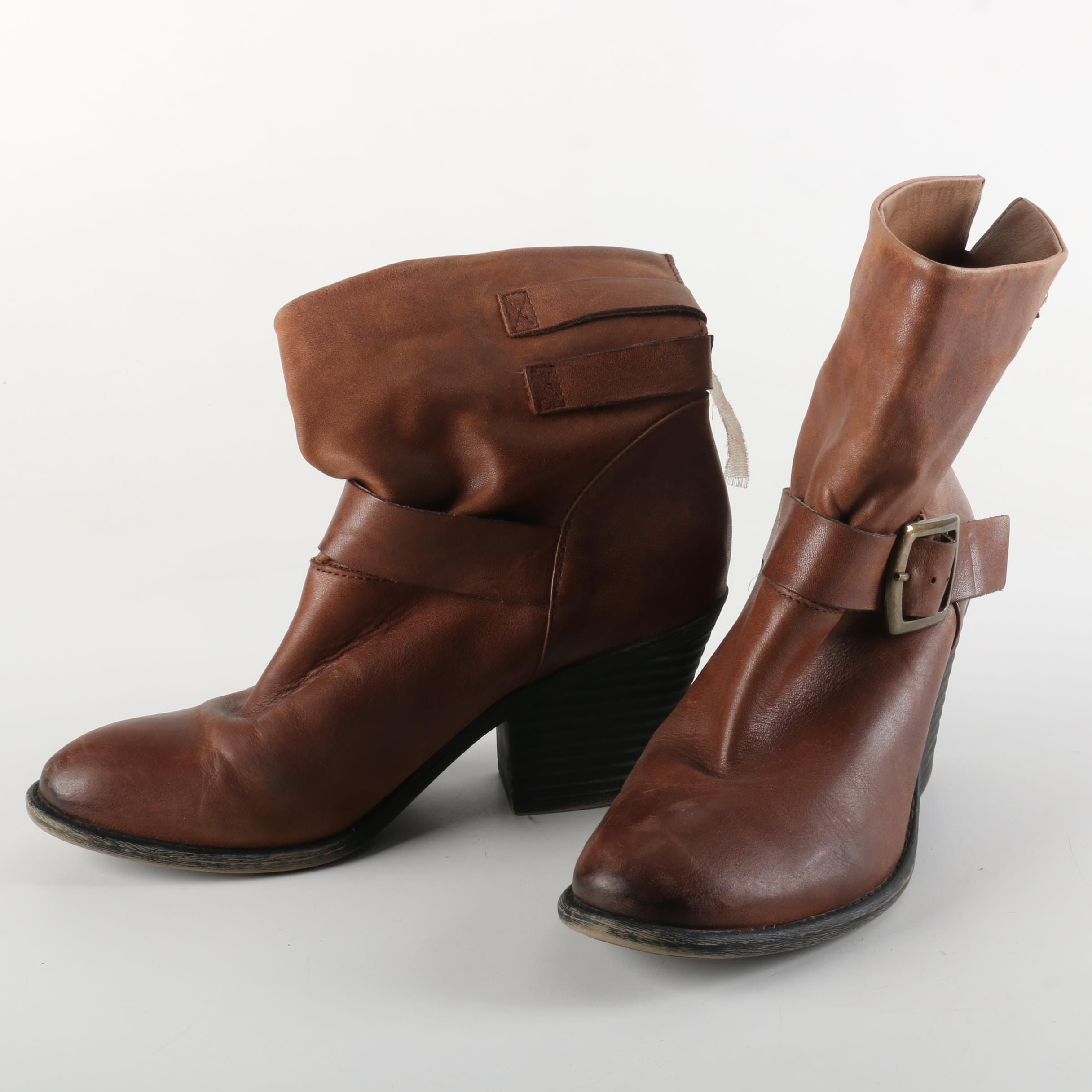 Lucky Brand Tommie Brown Buckle Strap Booties