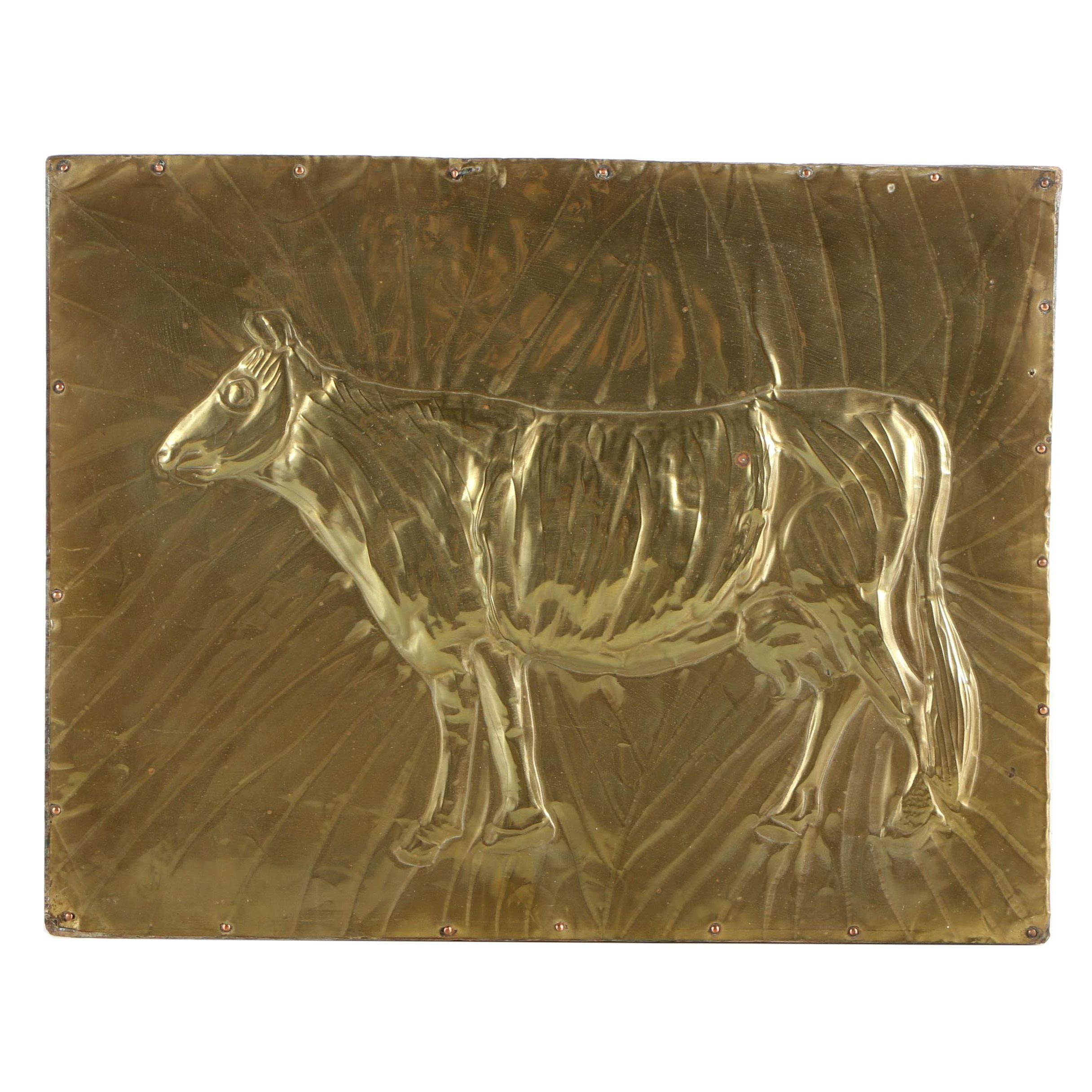 Vintage Gold Tone Metal Wall Plaque Of Cow In Relief