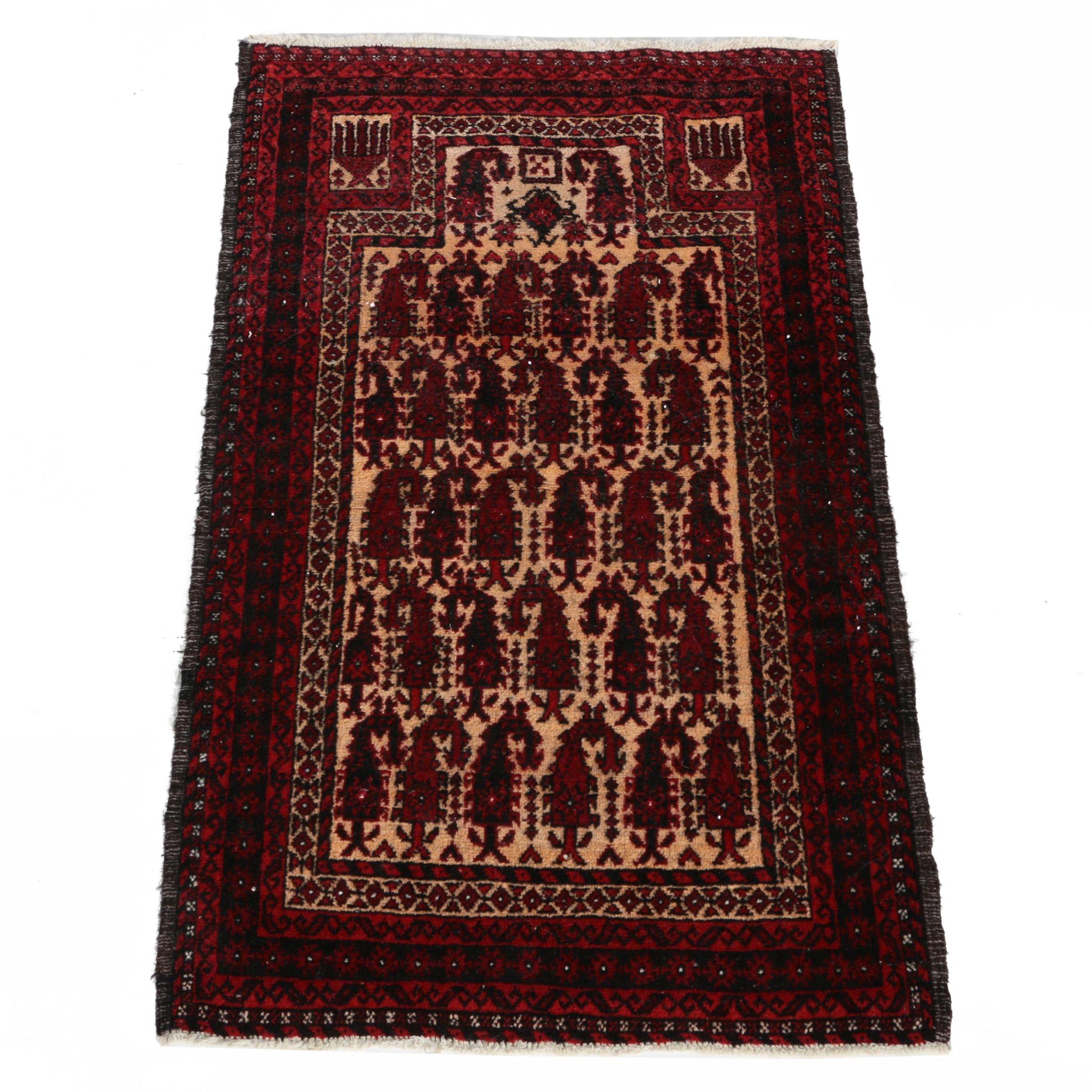 Hand Woven Wool Baluch Mir-a-Boteh Prayer Rug