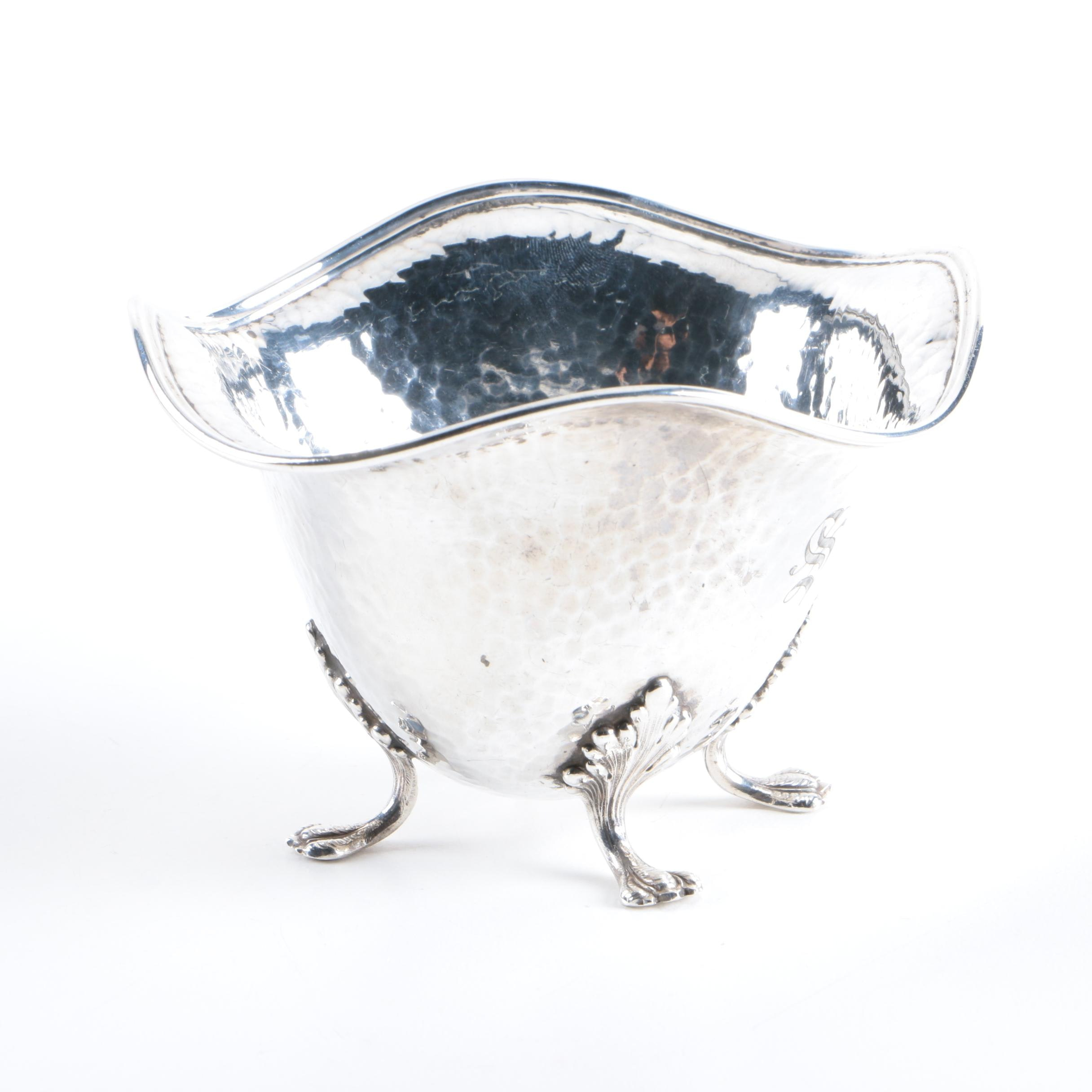 Watson Company Sterling Silver Hammered and Footed Open Sugar Bowl
