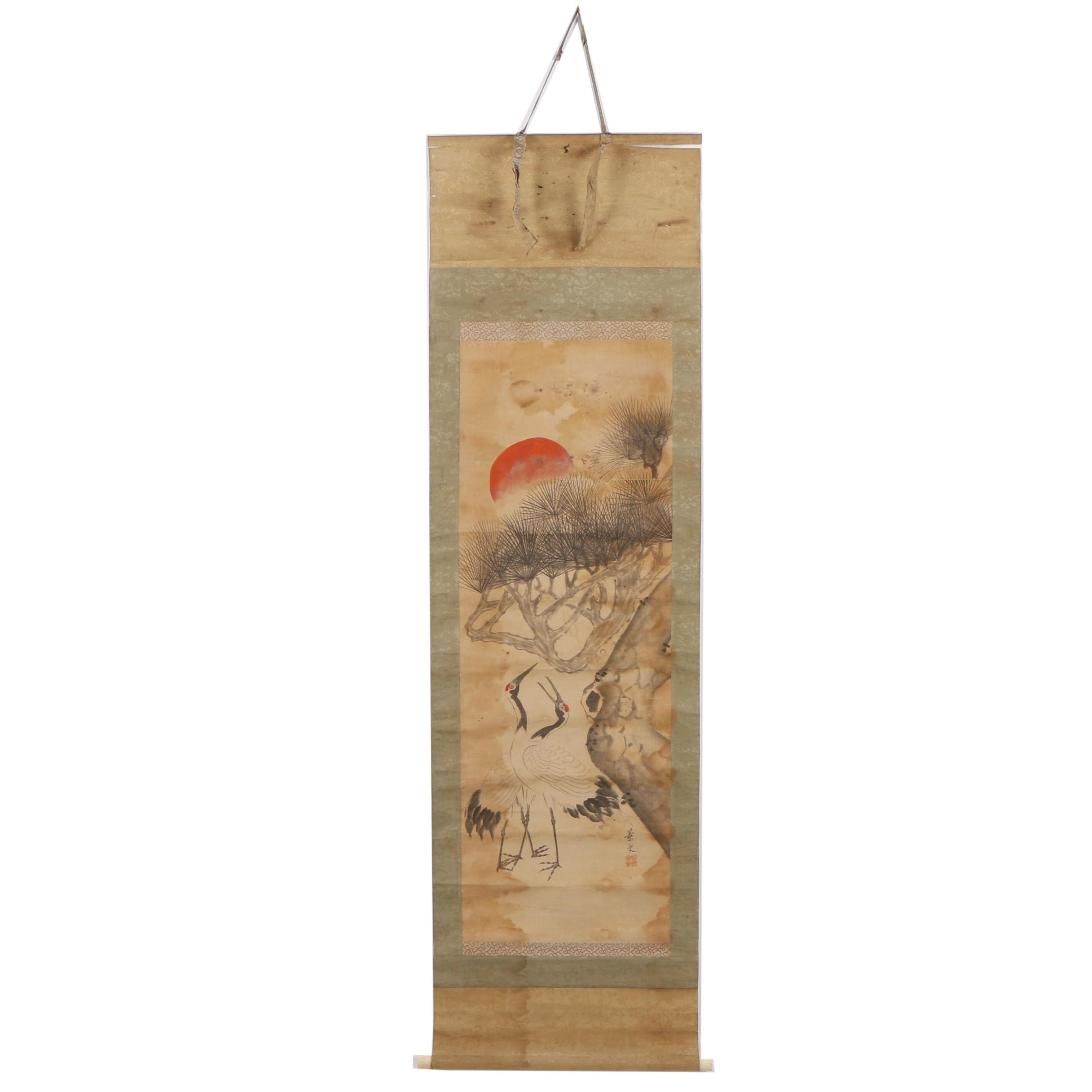 East Asian Ink & Gouache Painting Hanging Scroll of a Cranes