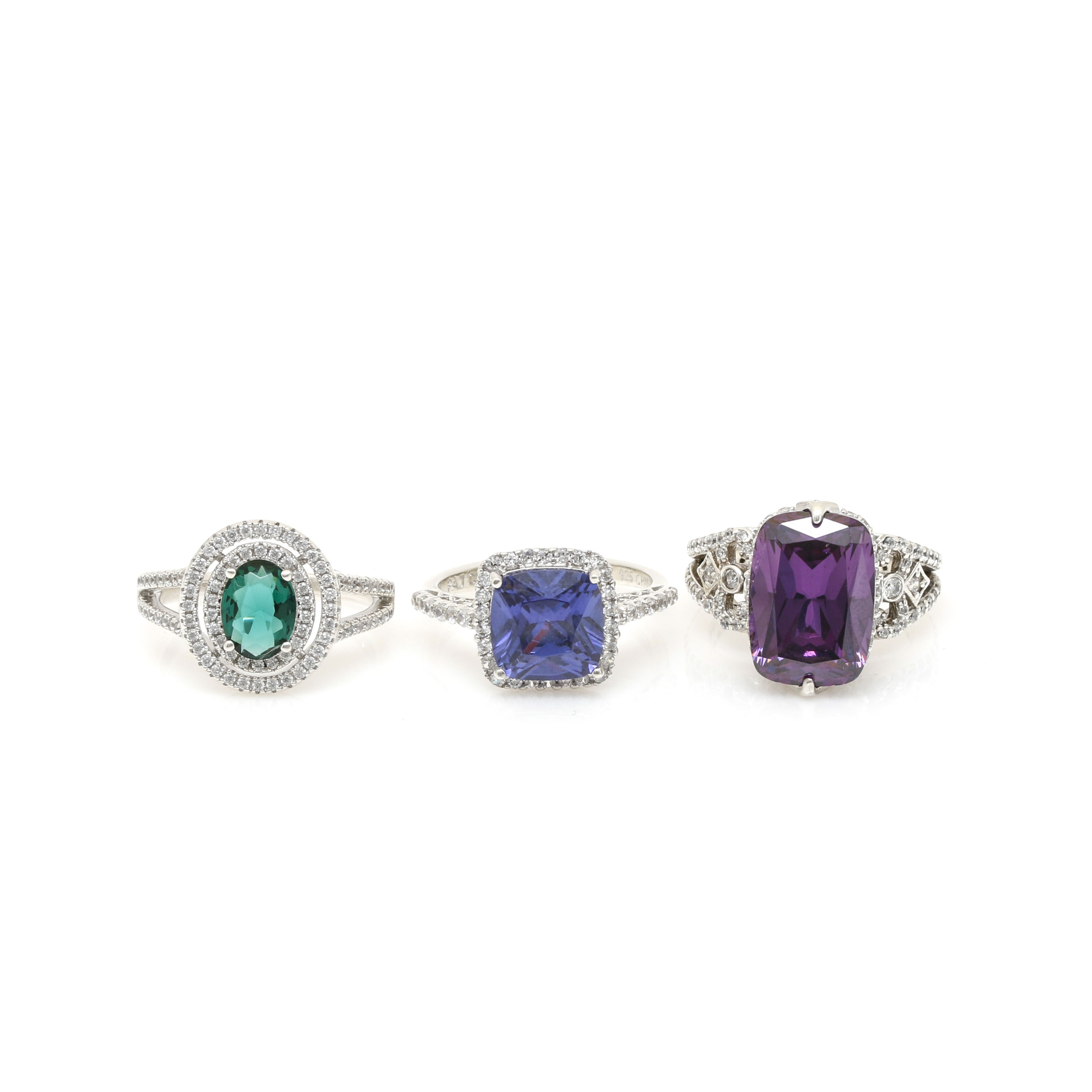 Selection of Sterling Silver Cubic Zirconia Rings