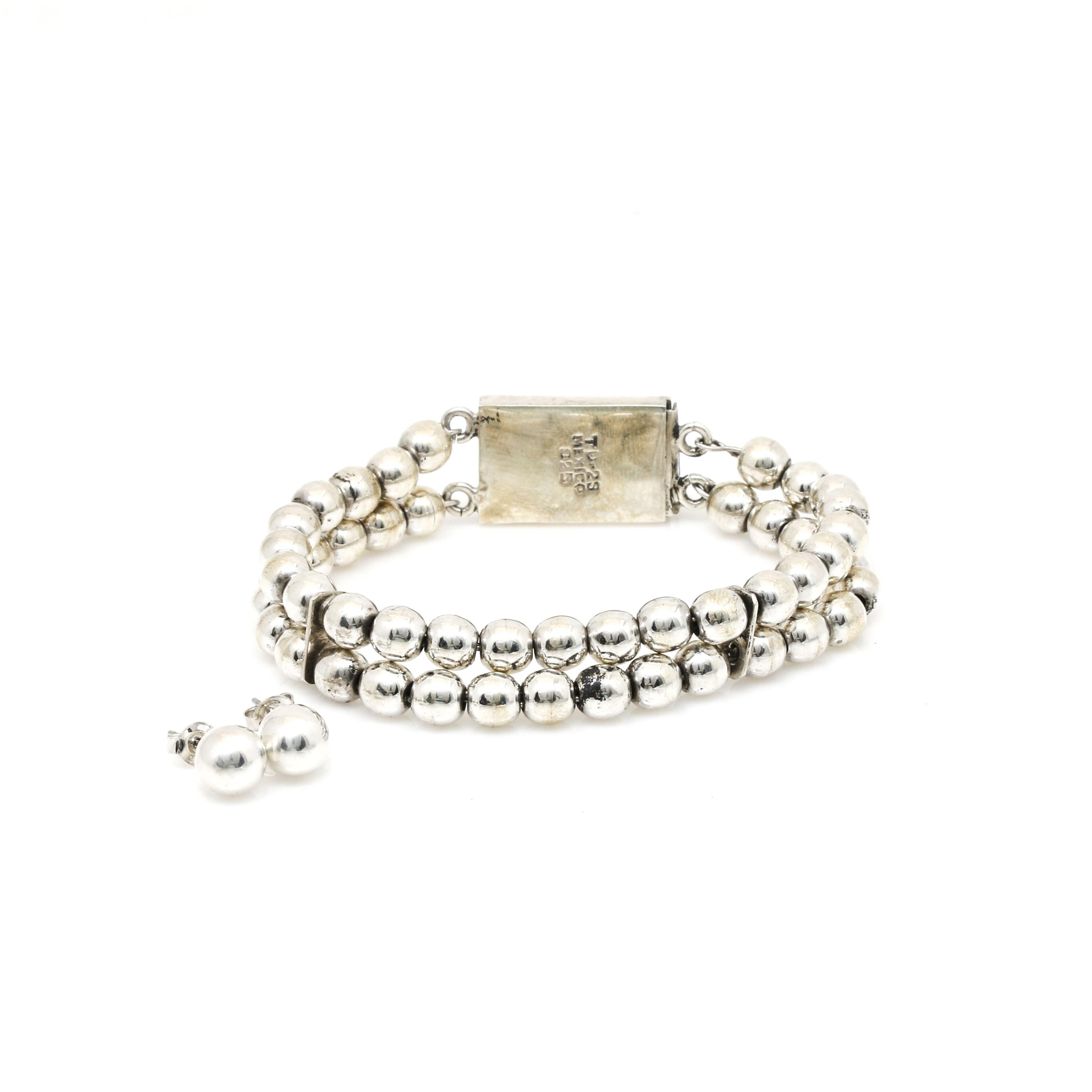 Taxco Sterling Silver Bead Bracelet and Ball Stud Earrings