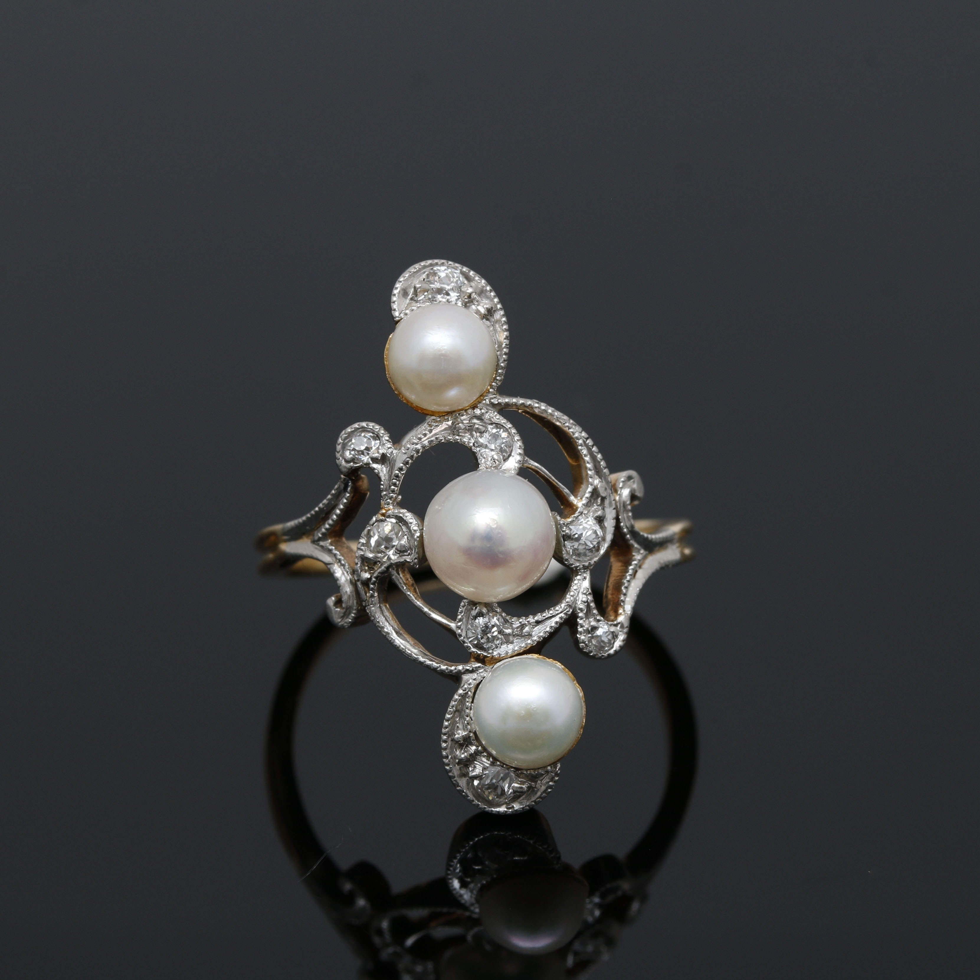 Belle Époque 18K Yellow Gold and Platinum Cultured Pearl and Diamond Ring