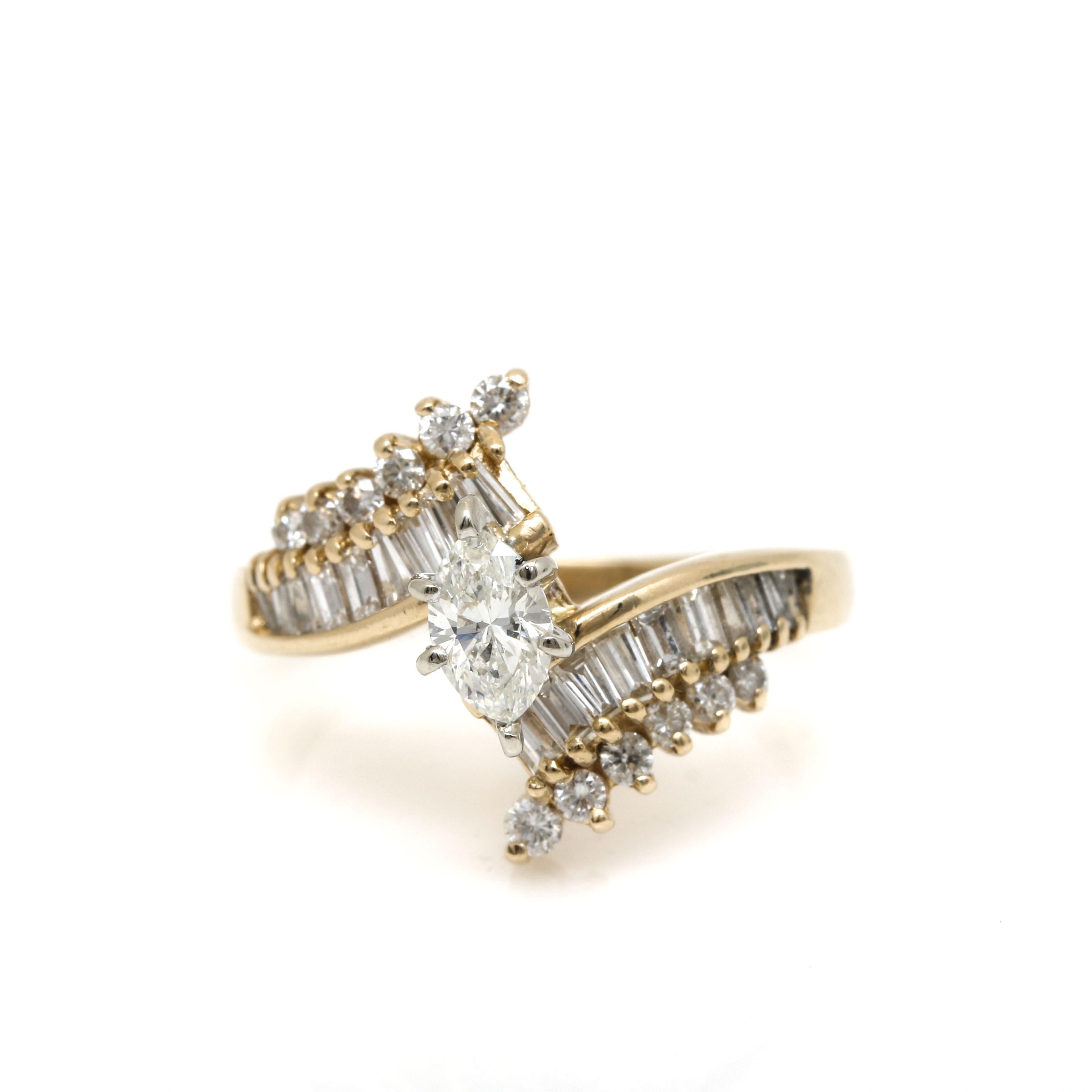 14K Yellow Gold 1.14 CTW Diamond Bypass Ring