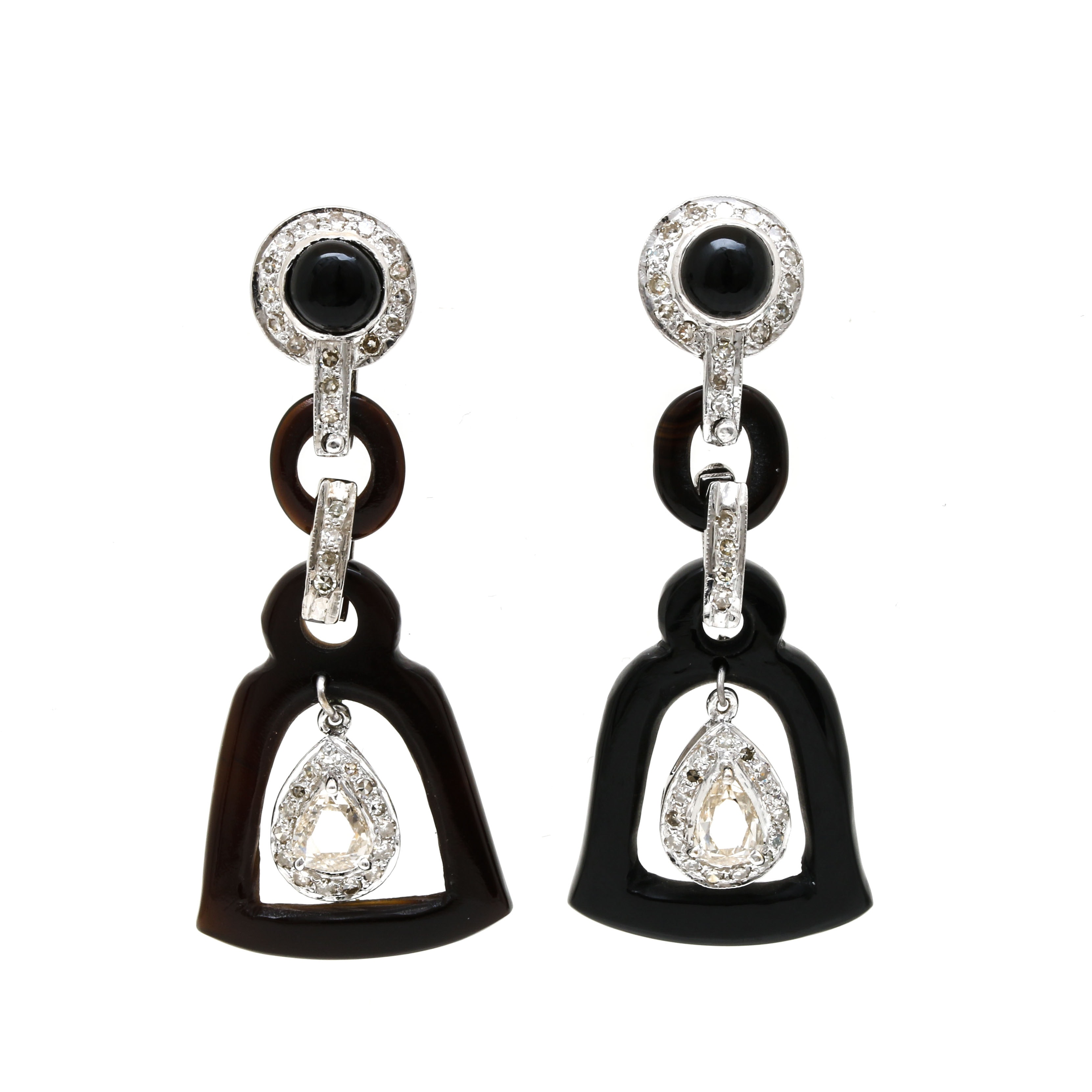 Vintage 18K White Gold 1.09 CTW Diamond and Onyx Drop Earrings