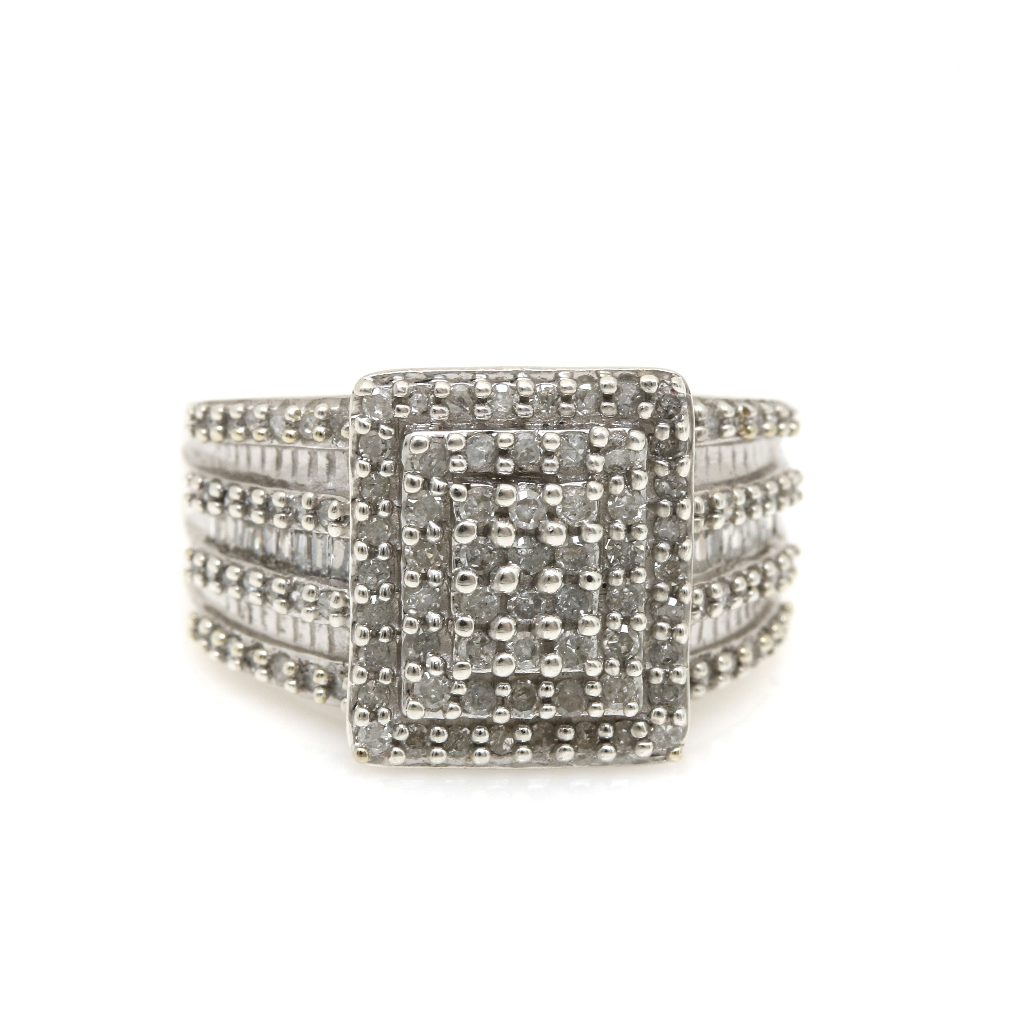 Sterling Silver 0.92 CTW Diamond Ring