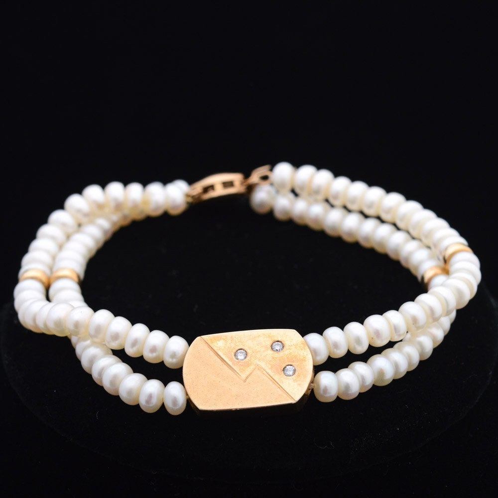 14K Yellow Gold Diamond and Cultured Freshwater Pearl Bracelet