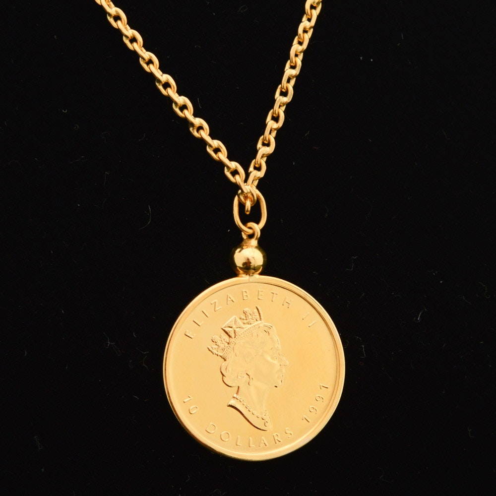 20K Yellow Gold Necklace with Canadian 1991 Gold Maple Leaf Bullion Coin Pendant
