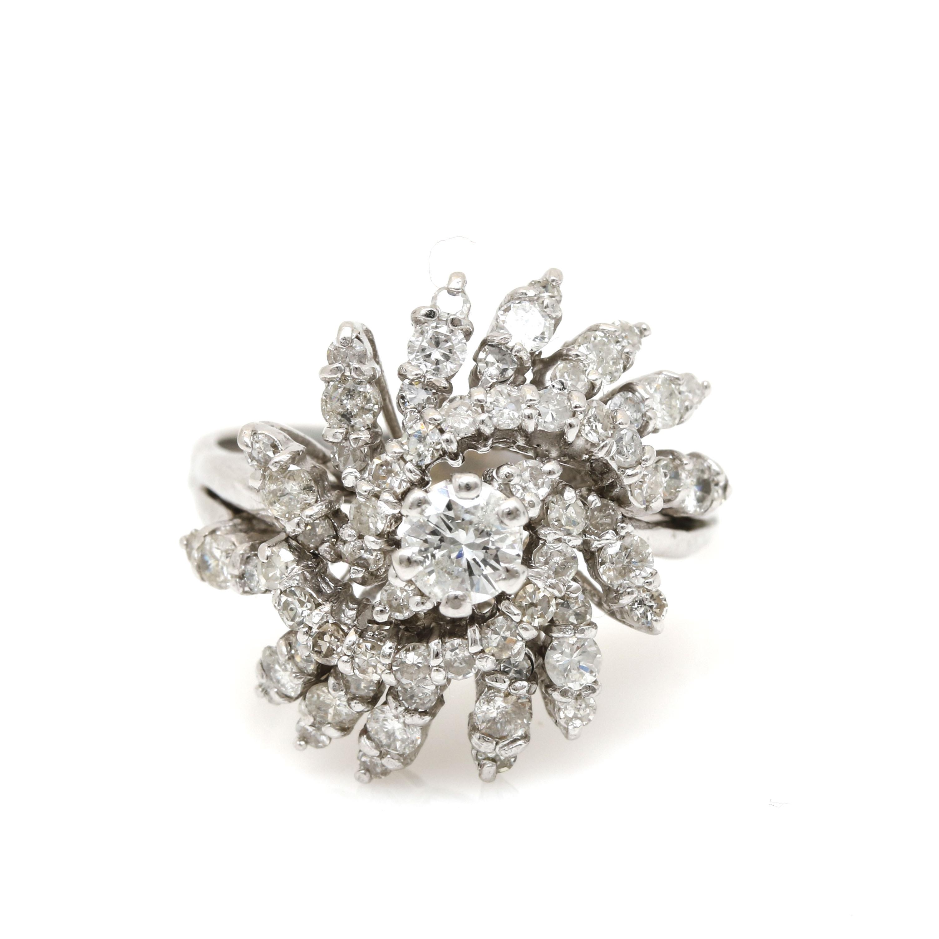 14K White Gold 2.09 CTW Diamond Ring