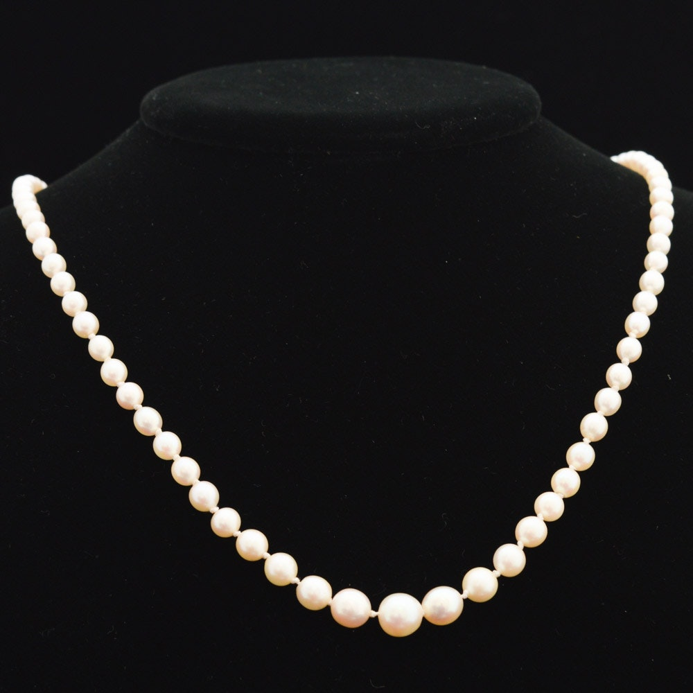 14K White Gold and Cultured Pearl Necklace