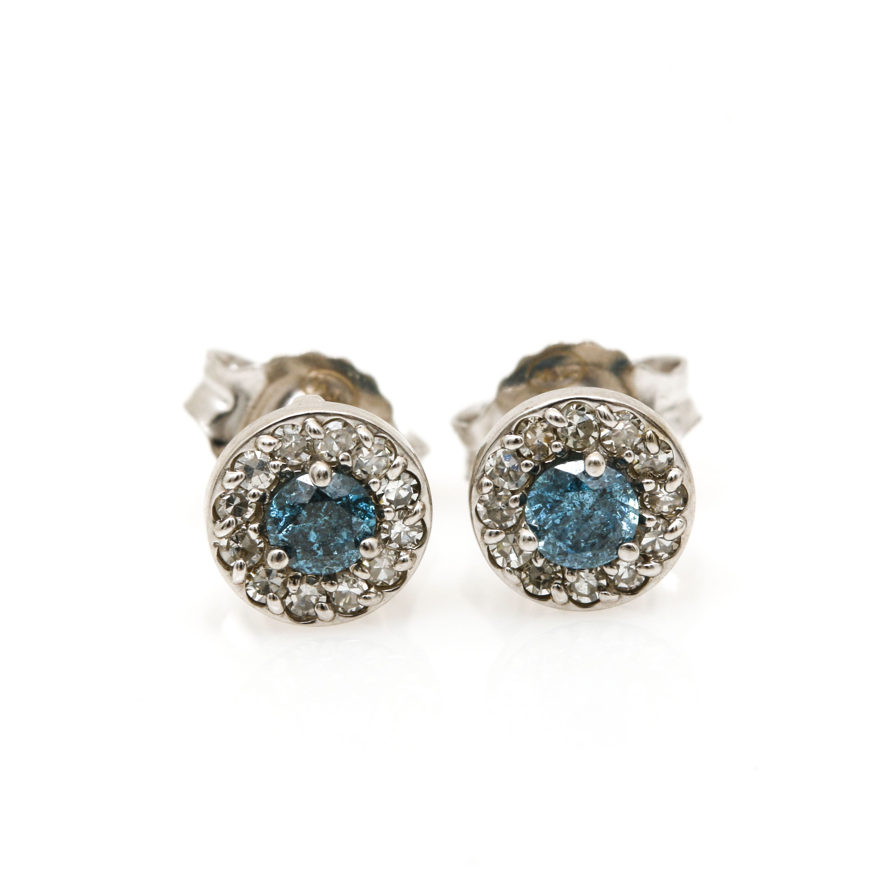 14K White Gold Blue Diamond and Diamond Earrings