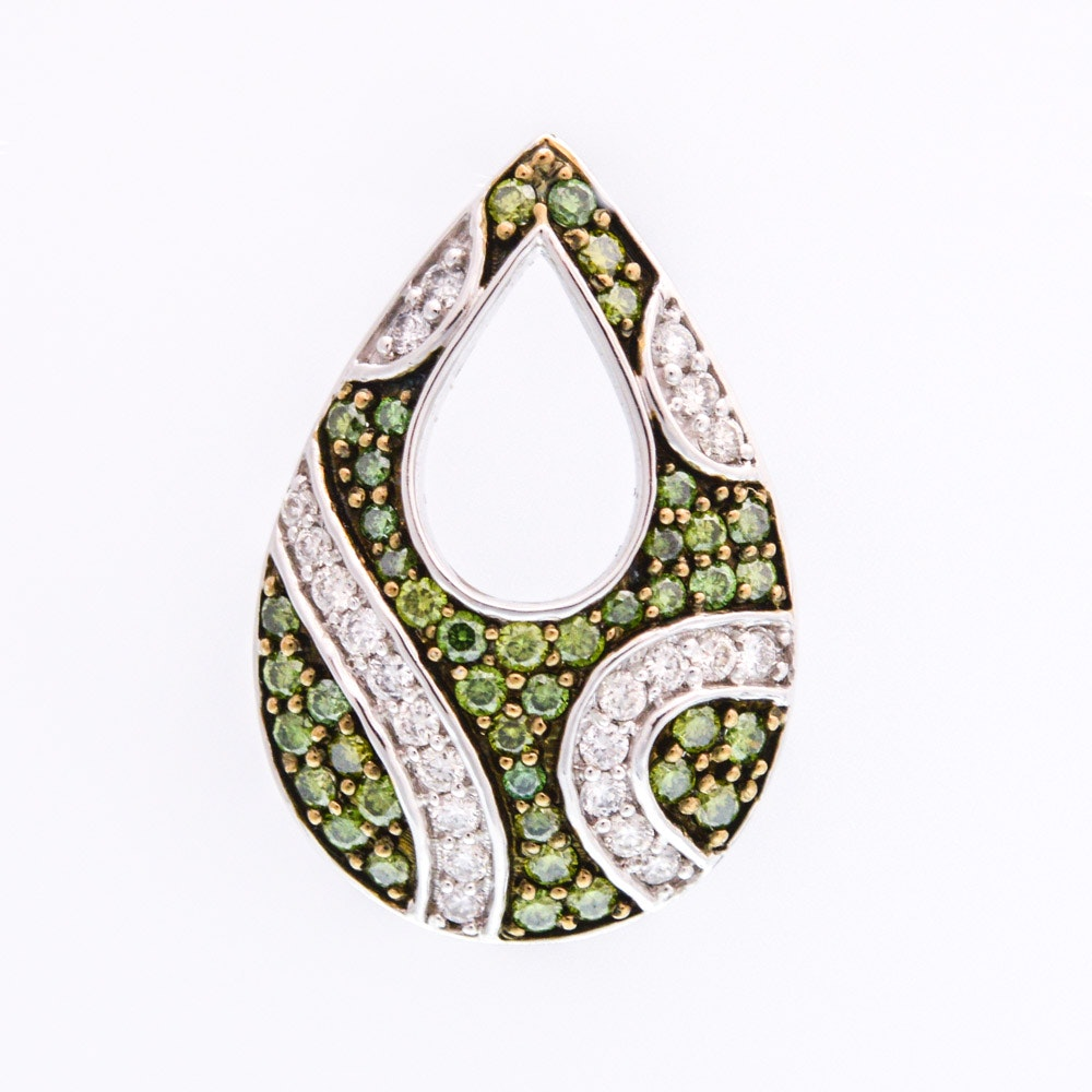14K White Gold Diamond and Green Diamond Pendant