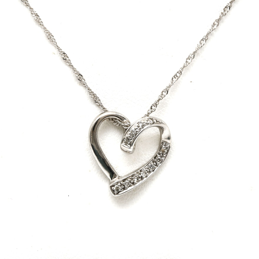 14k white gold diamond heart pendant necklace ebth 14k white gold diamond heart pendant necklace aloadofball Image collections