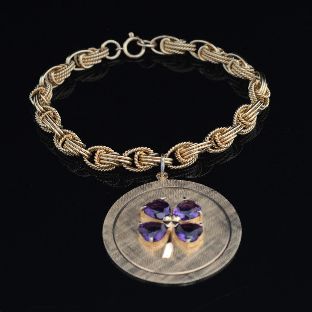 14K Yellow Gold and Amethyst Bracelet