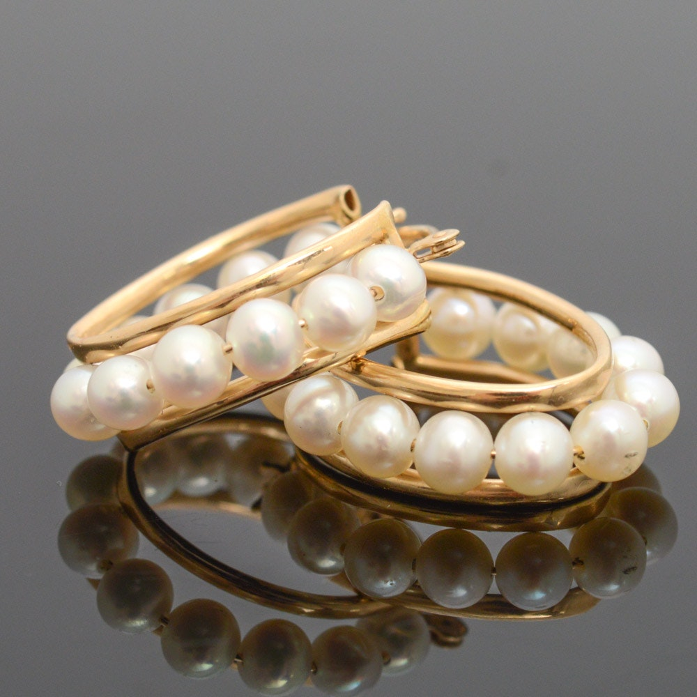 14K Yellow Gold and Cultured Freshwater Pearl Hoop Earrings