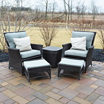 Hampton Bay Patio Chairs, Ottomans and Storage Table