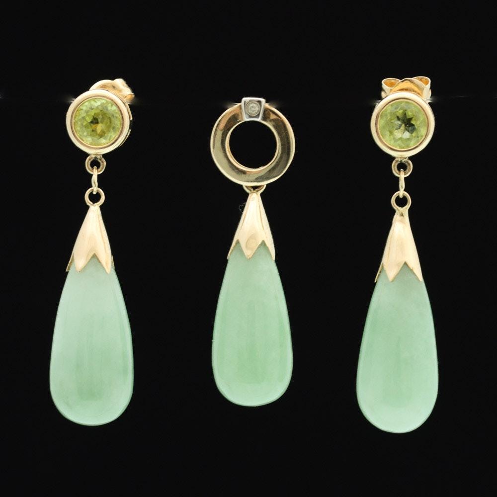 14K Yellow Gold Green Quartz, Diamond, and Peridot Earrings and Pendant Set
