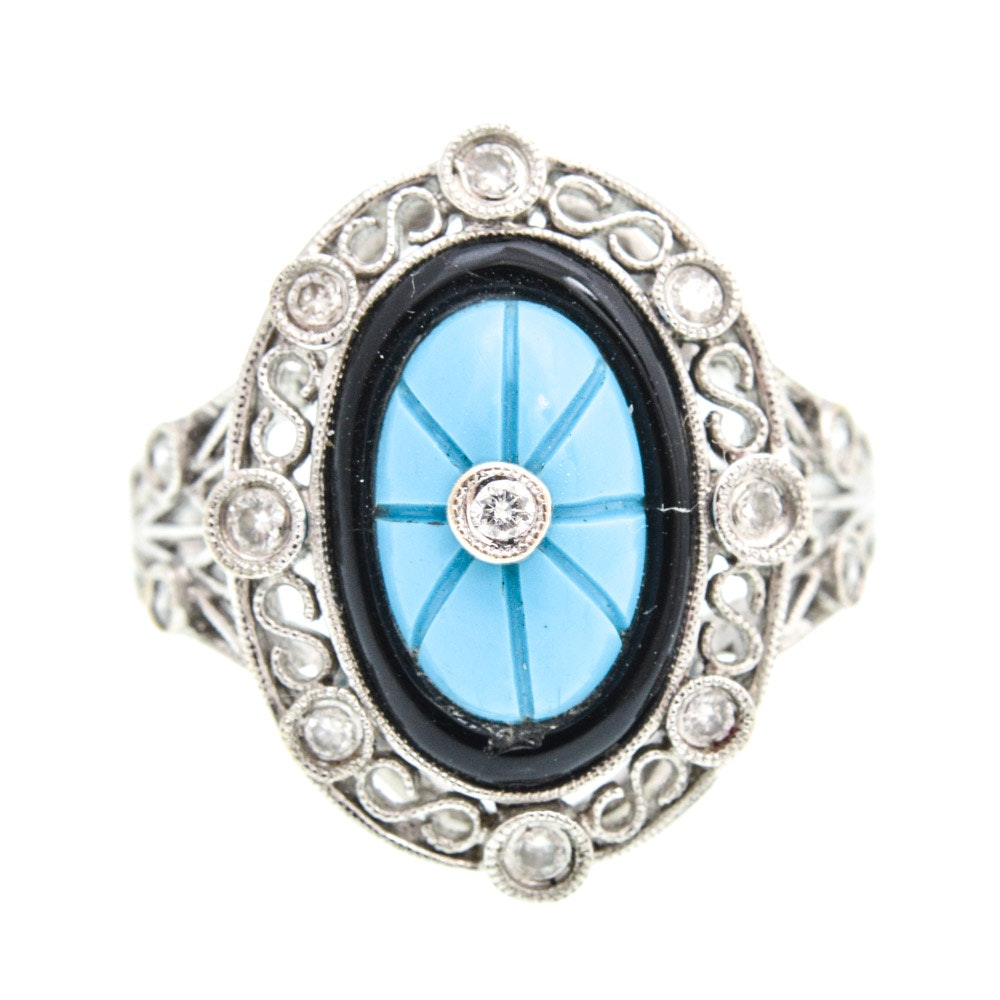 18K White Gold Diamond, Turquoise, and Onyx Ring