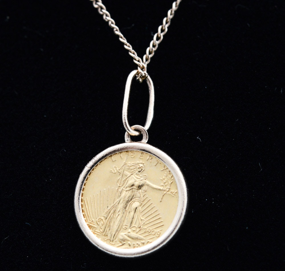 22K Yellow Gold Replica Coin Pendant on 14K Yellow Gold Chain