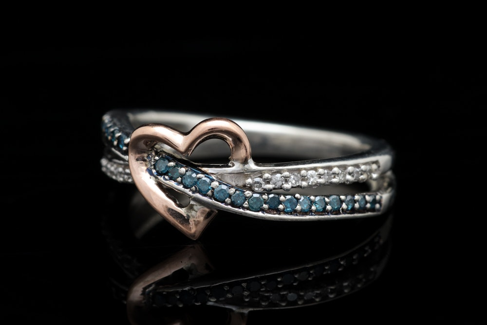 Sterling Silver, 10K Rose Gold, Irradiated Blue and White Diamond Ring