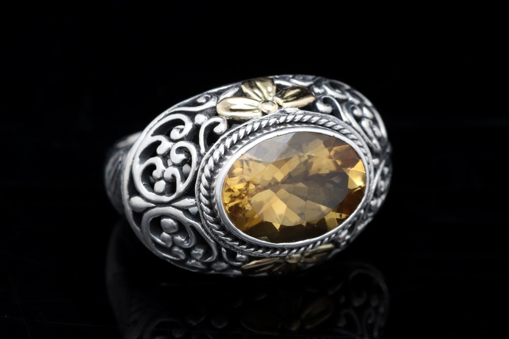 Sterling Silver, 18K Yellow Gold and Citrine Ring