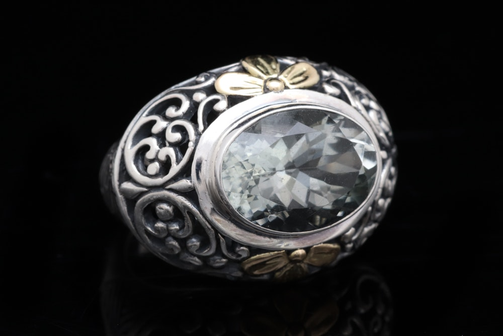 Sterling Silver, 18K Yellow Gold and Praseolite Ring