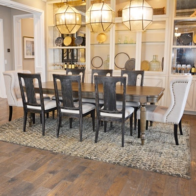 Riverside Furniture Dining Room Table With Wood and Upholstered Chairs