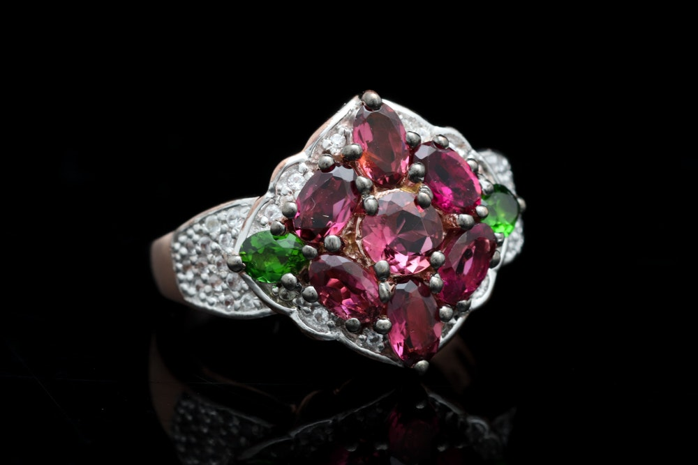Rose Gold Wash on Sterling, Pink Tourmaline, Chrome Diopside and Topaz Ring