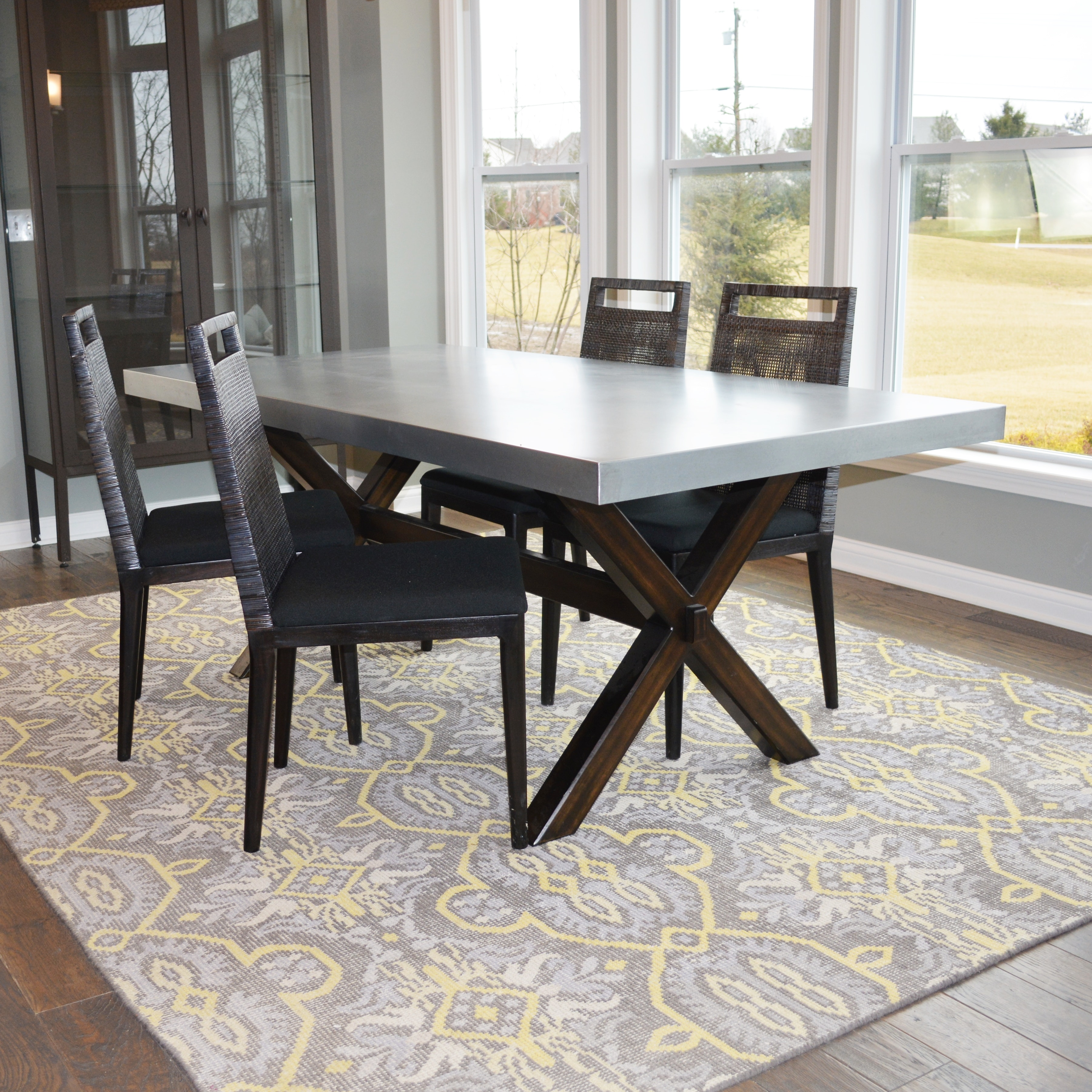 Dining Room Table and Four Woven Back Chairs