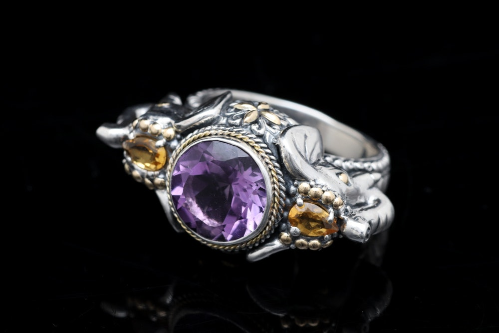 Sterling Silver, 18K Yellow Gold, Amethyst and Citrine Elephant Ring