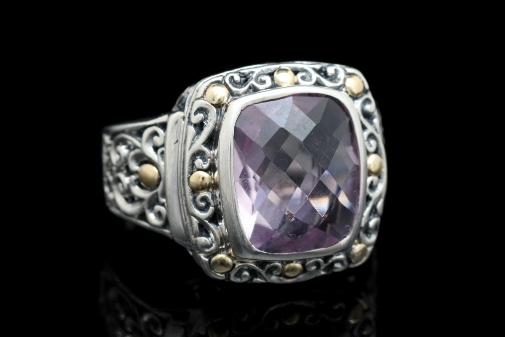 Sterling Silver, 18K Yellow Gold and Amethyst Ring