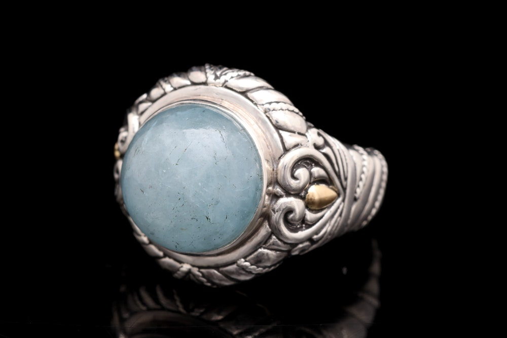 Sterling Silver, 18K Yellow Gold and Milky Aquamarine Ring