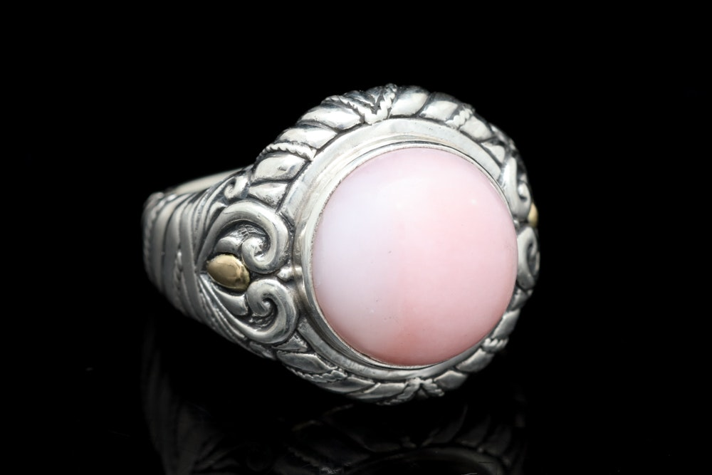 Sterling Silver, 18K Yellow Gold and Pink Opal Ring