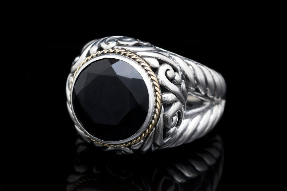 Sterling Silver, 18K Yellow Gold and Black Chalcedony Ring