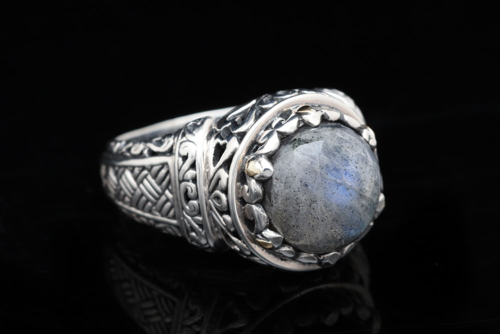 Robert Manse Sterling Silver, 18K Yellow Gold and Labradorite Ring