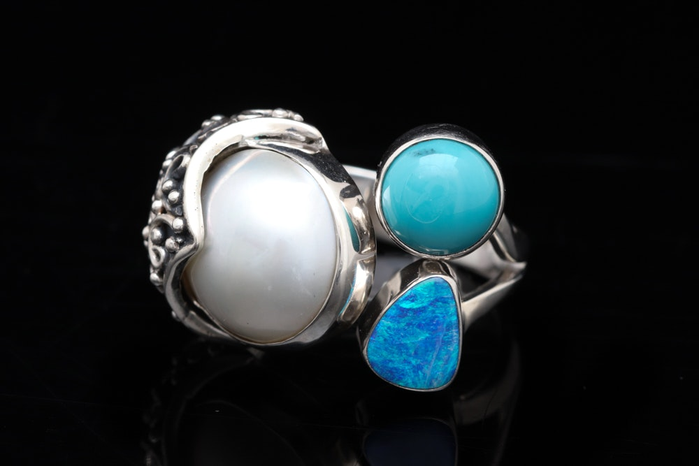 Sterling Silver, Pearl, Turquoise and Opal Doublet Ring