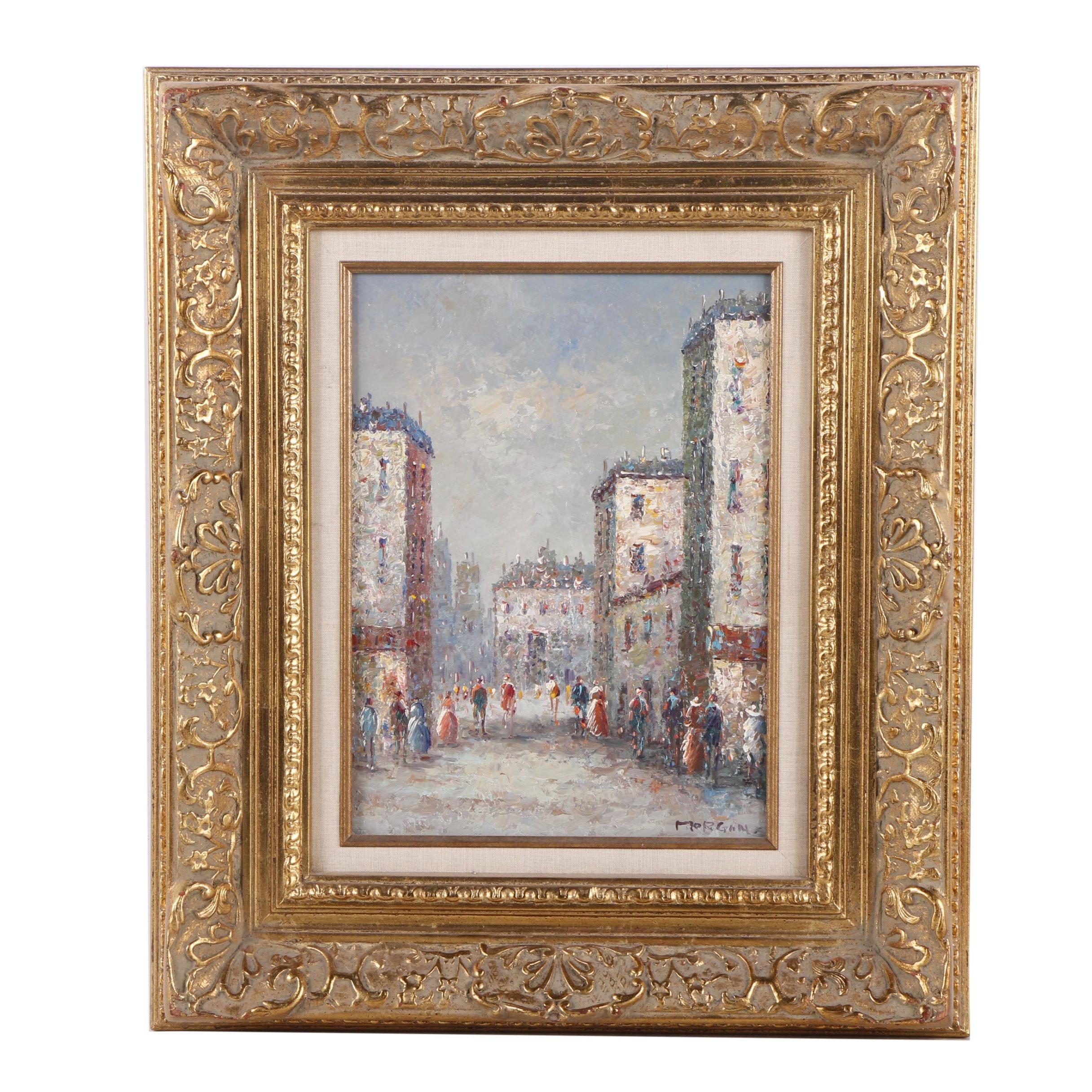 Morgan Oil Painting of a Street Scene