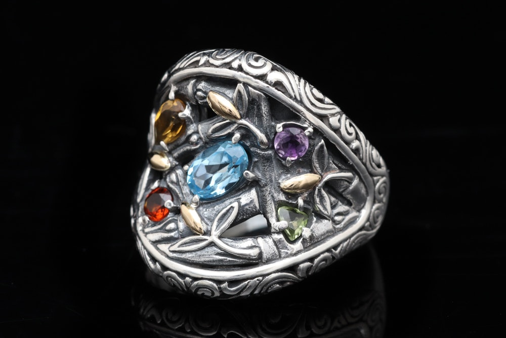 Sterling Silver, 18K Yellow Gold and Multi-Gemstone Ring