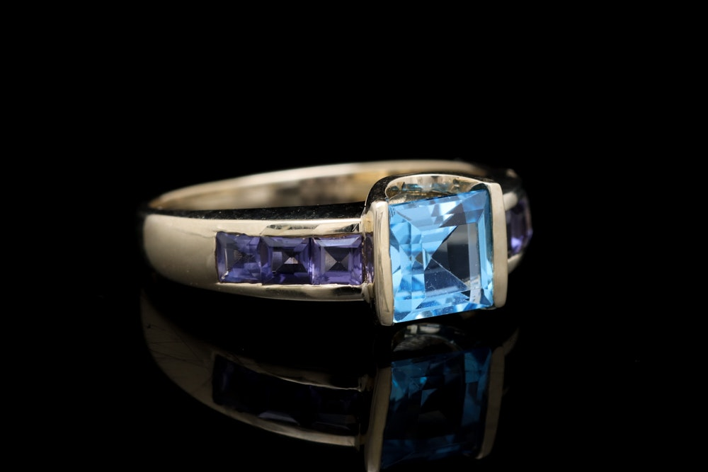 10K Yellow Gold, Blue Topaz and Iolite Ring