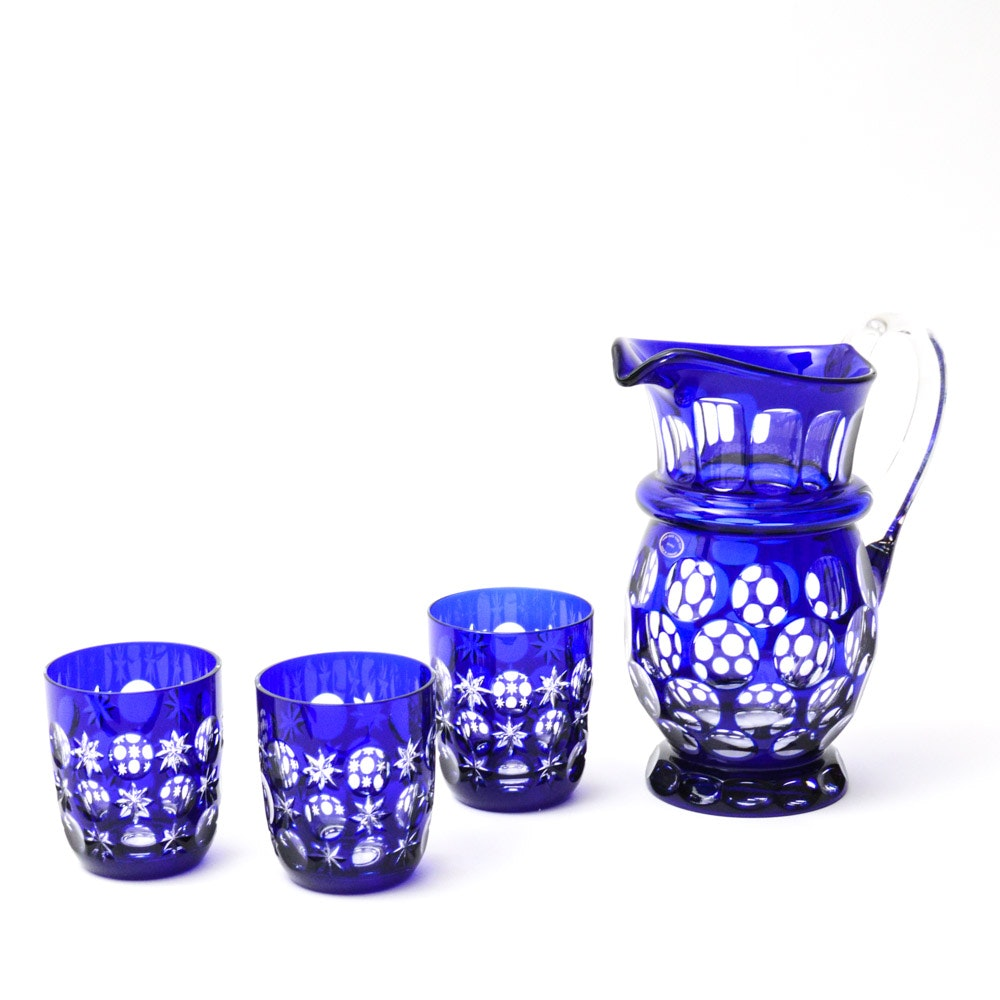 Hungarian Hand Cut Cased Cobalt Crystal Pitcher and Tumblers