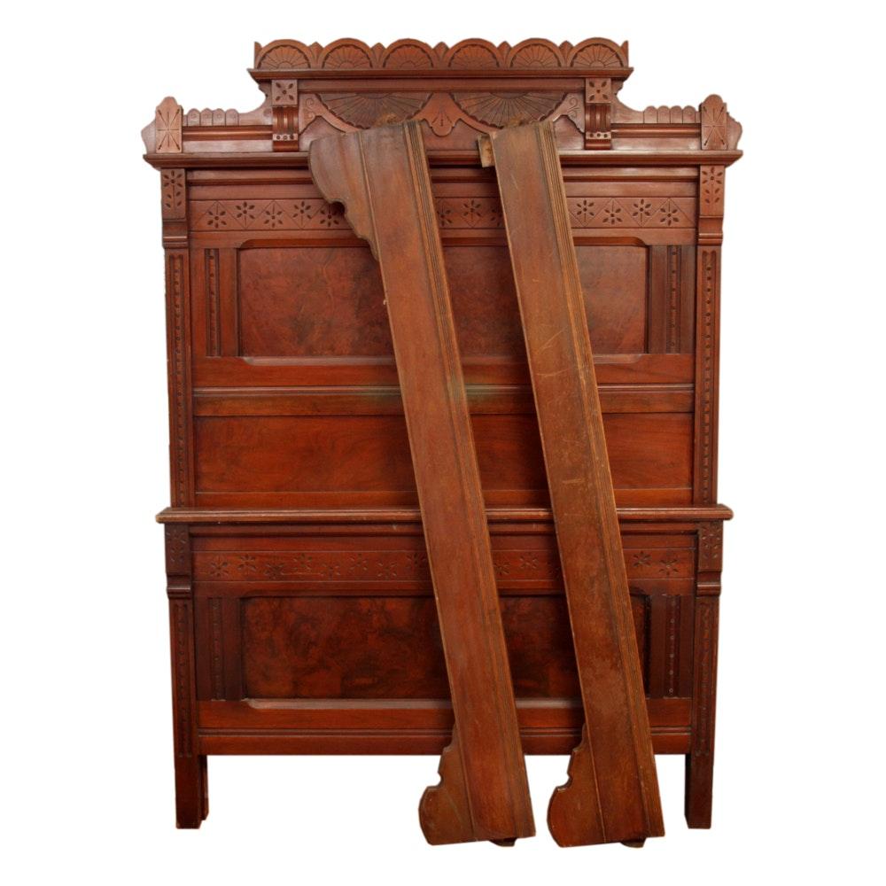 Antique Eastlake Walnut Twin Bed