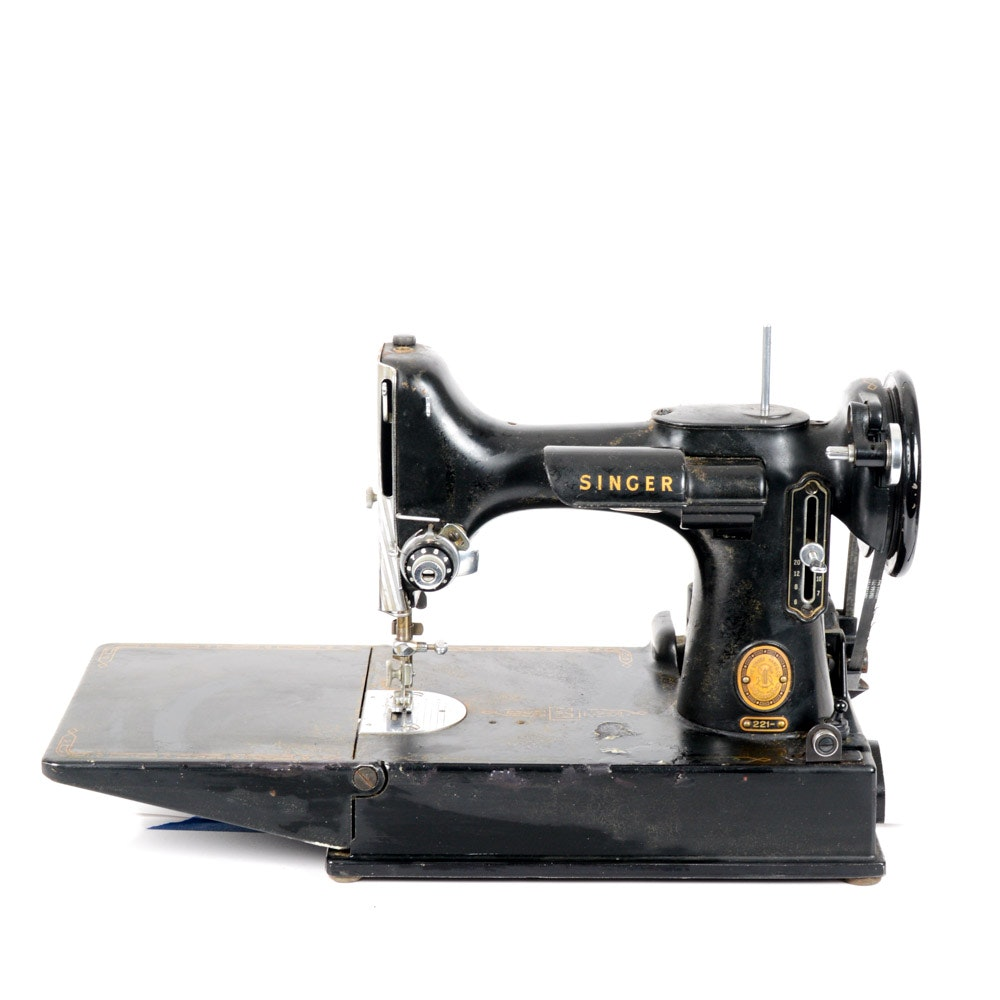 Singer Sewing Machine Model 221 with Case and Accessories