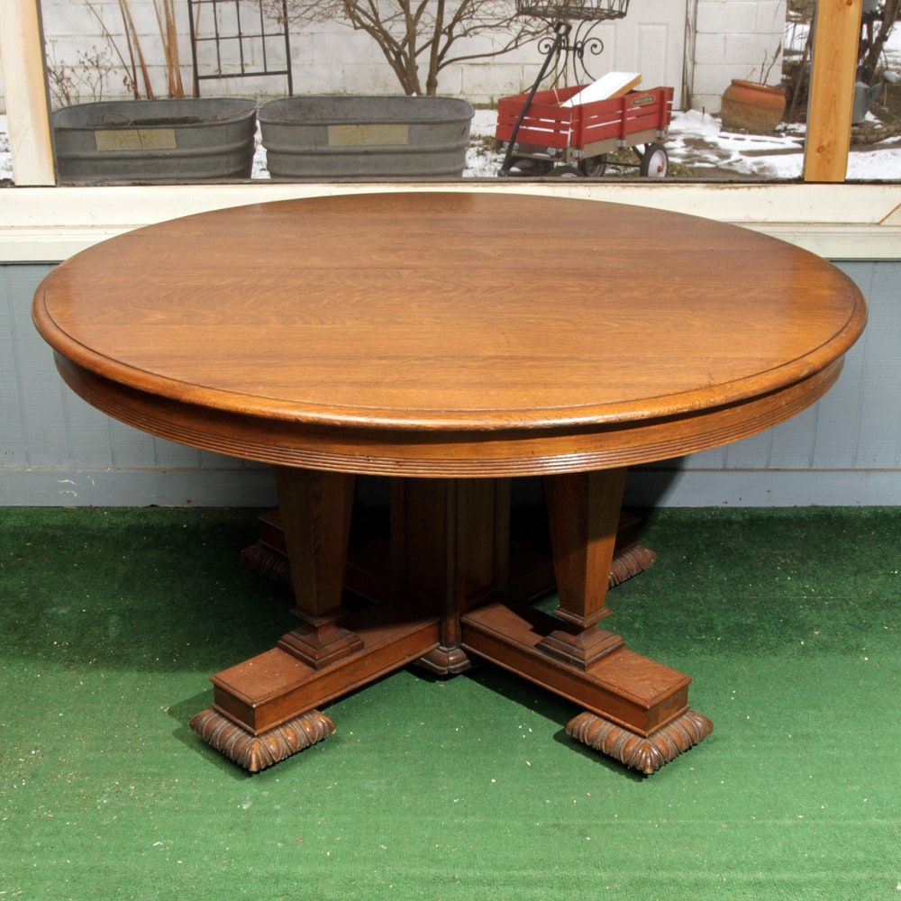 Antique Oak Round Dining Table