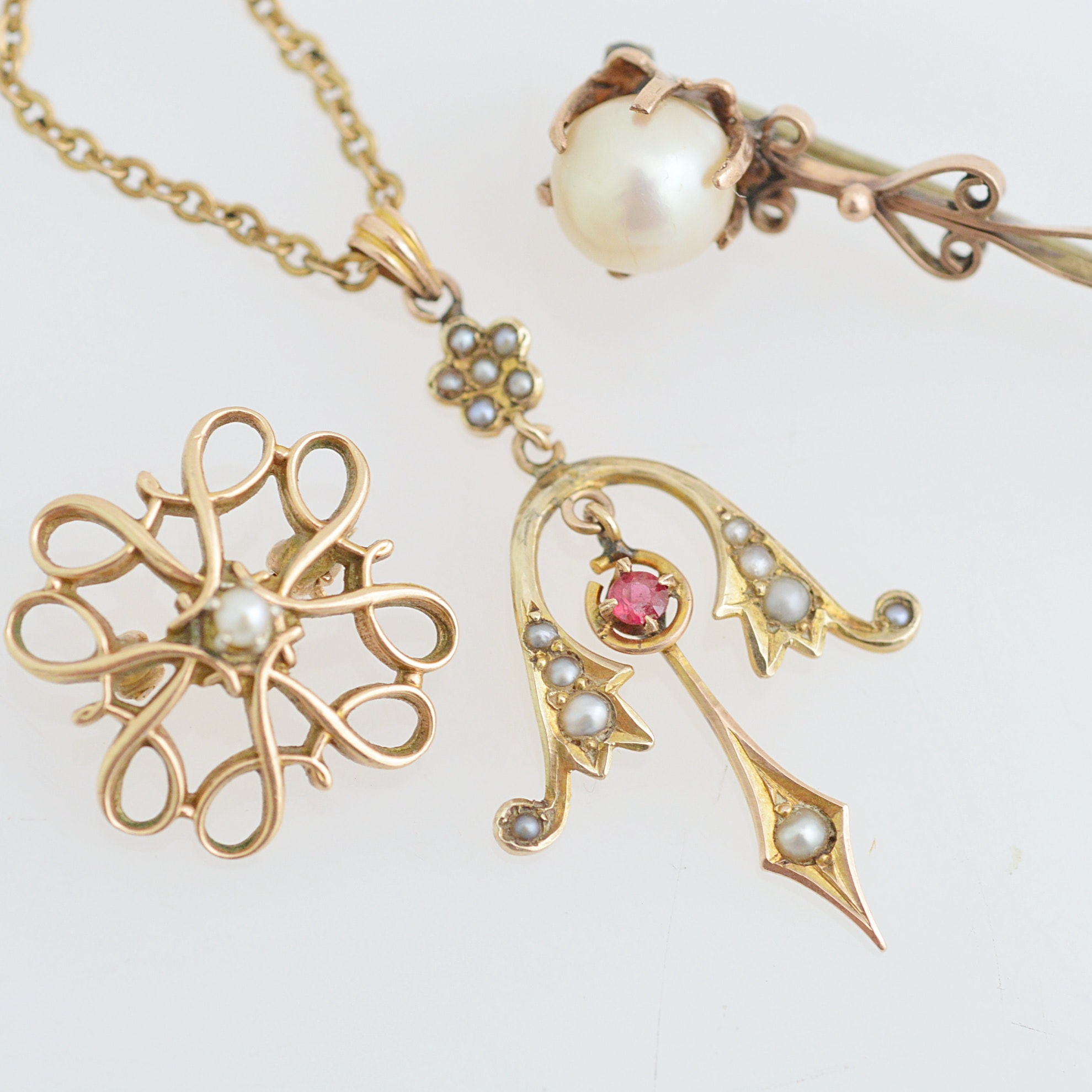 Antique 10K Gold and Gold-Filled Necklace and Brooches with Garnets and  Pearls