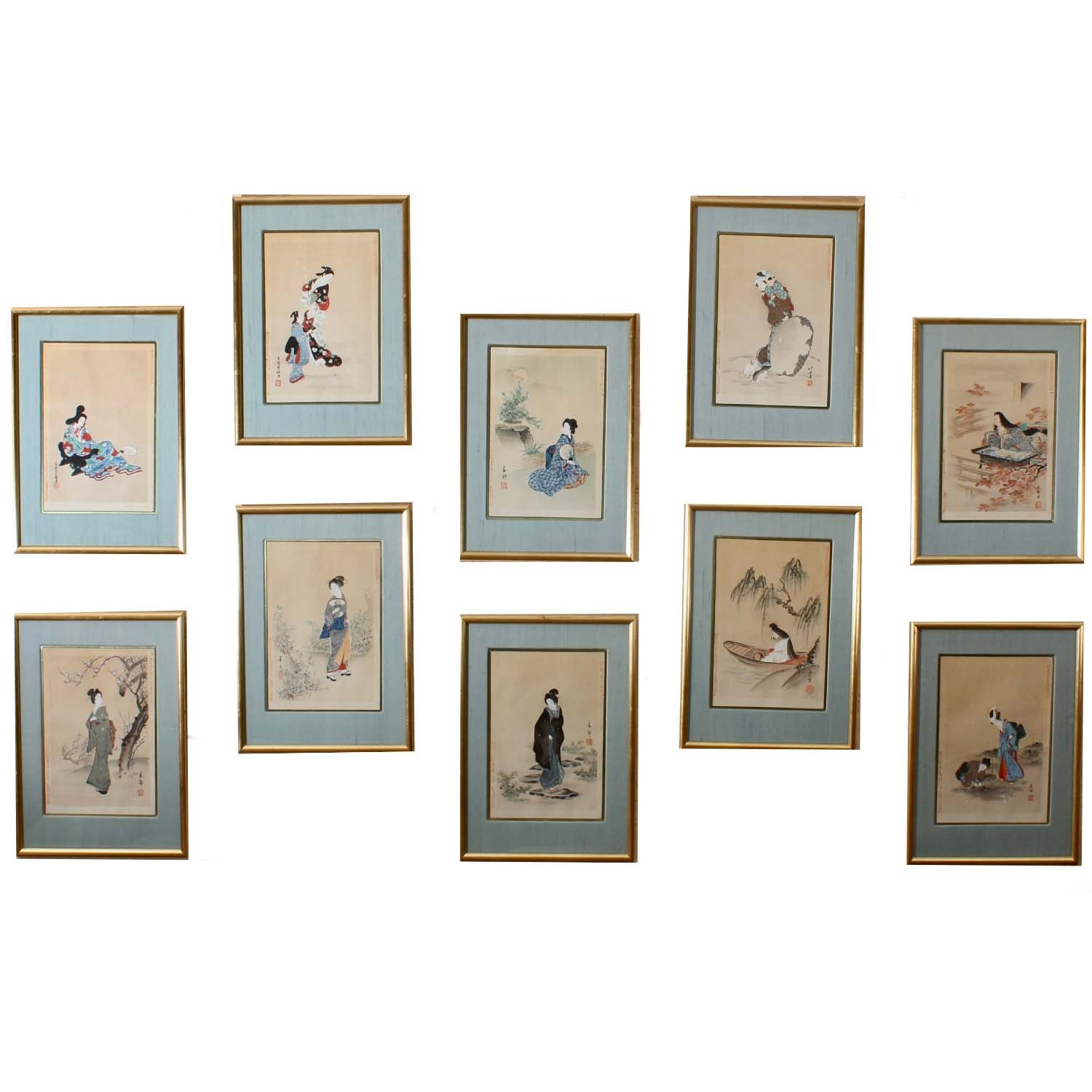 Ten Japanese Hand Colored Lithographs