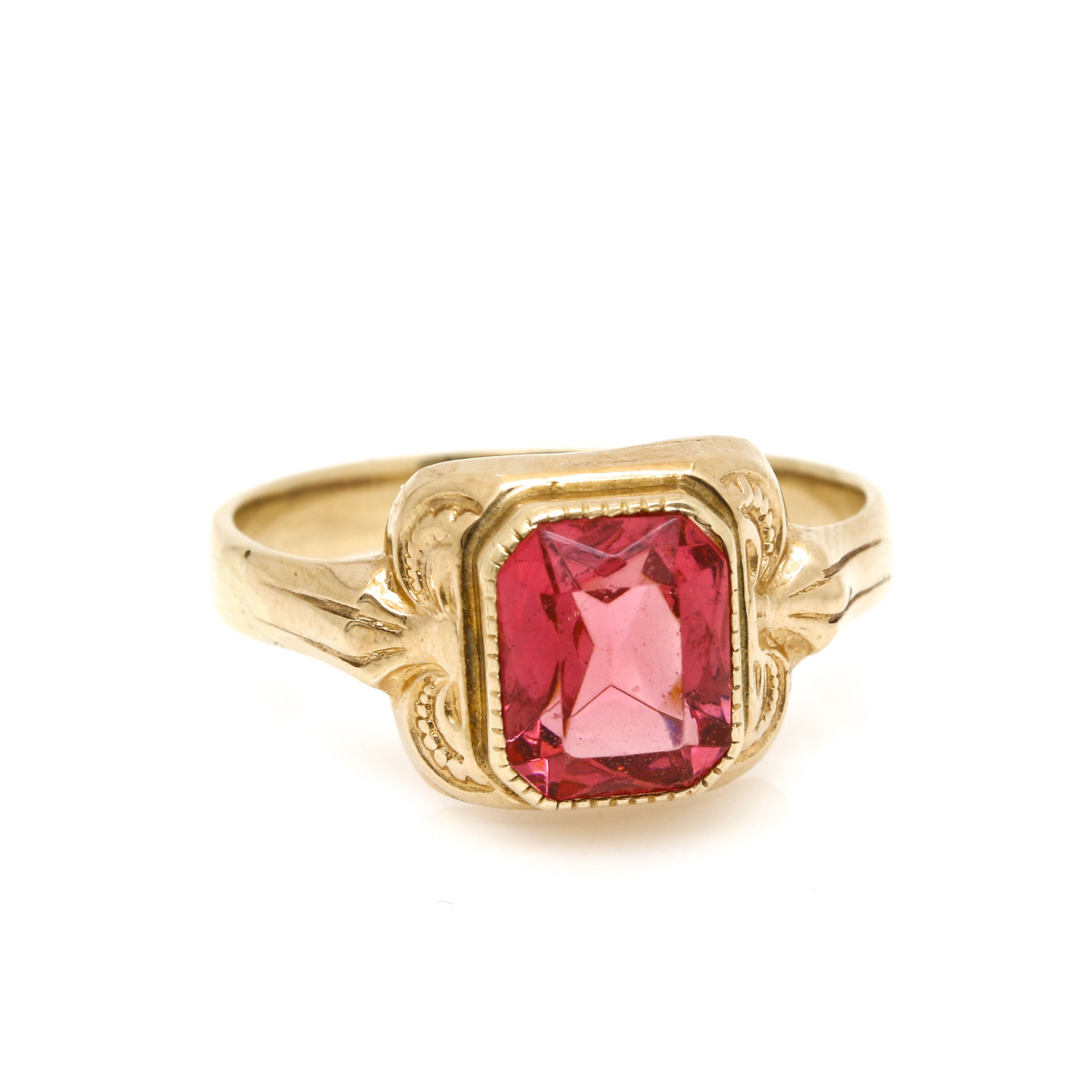 10K and 14K Yellow Gold Pink Glass Solitaire Ring