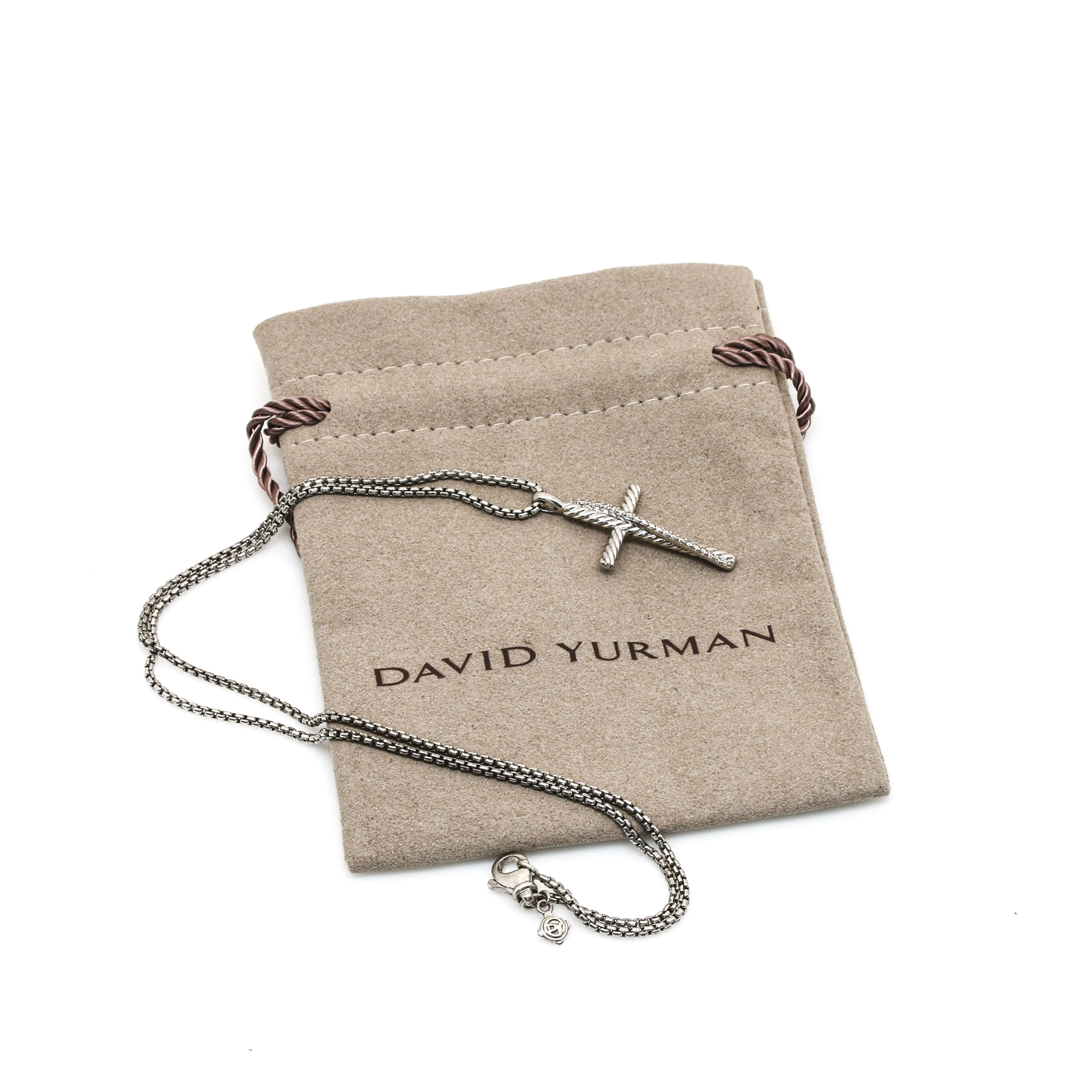 David Yurman Crossover Collection Sterling Silver Diamond Cross Necklace