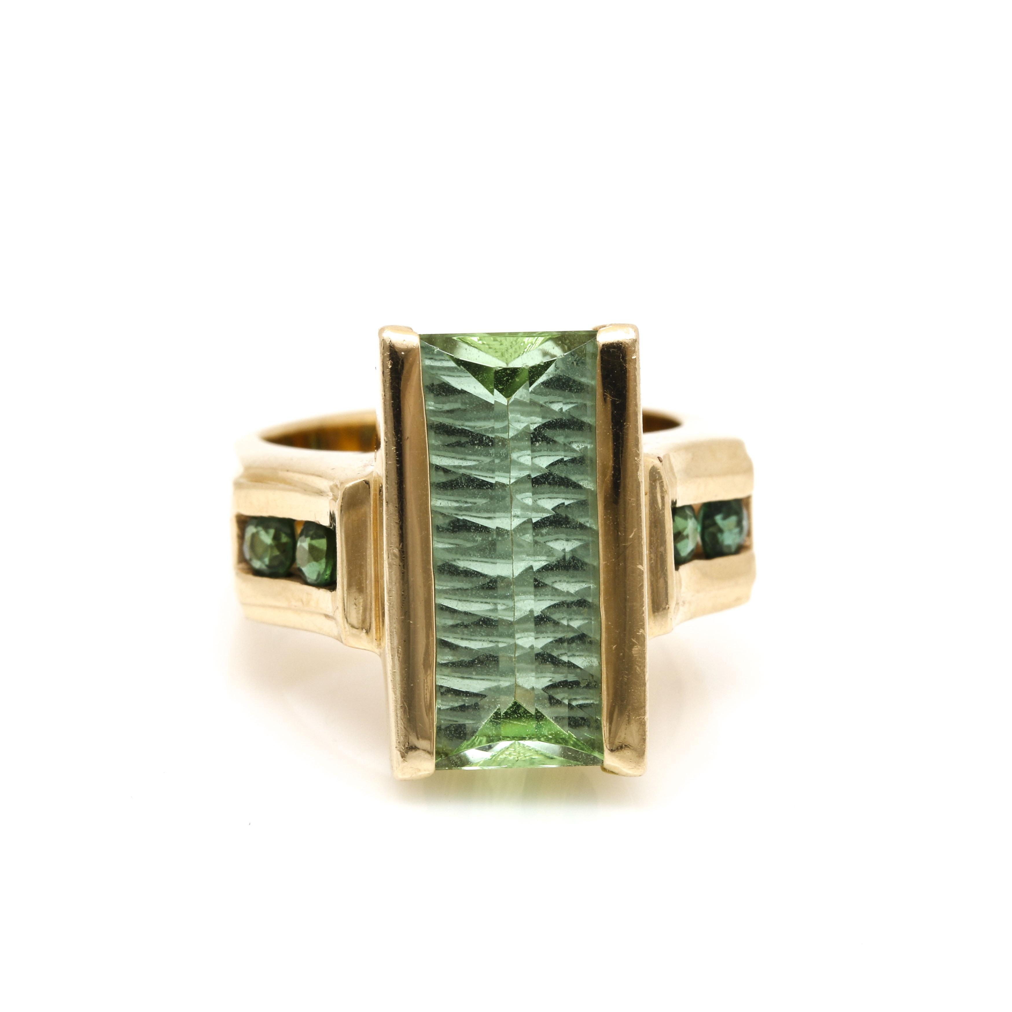 14K Yellow Gold 5.37 Carat Rectangle Facet Cut Green Tourmaline Ring
